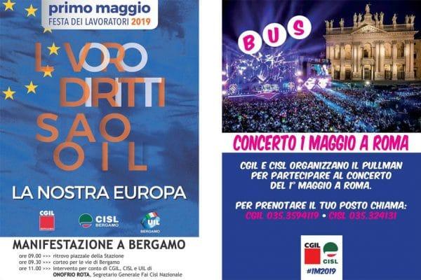 1 Maggio 2019. Manifestazione a Bergamo e concerto a Roma