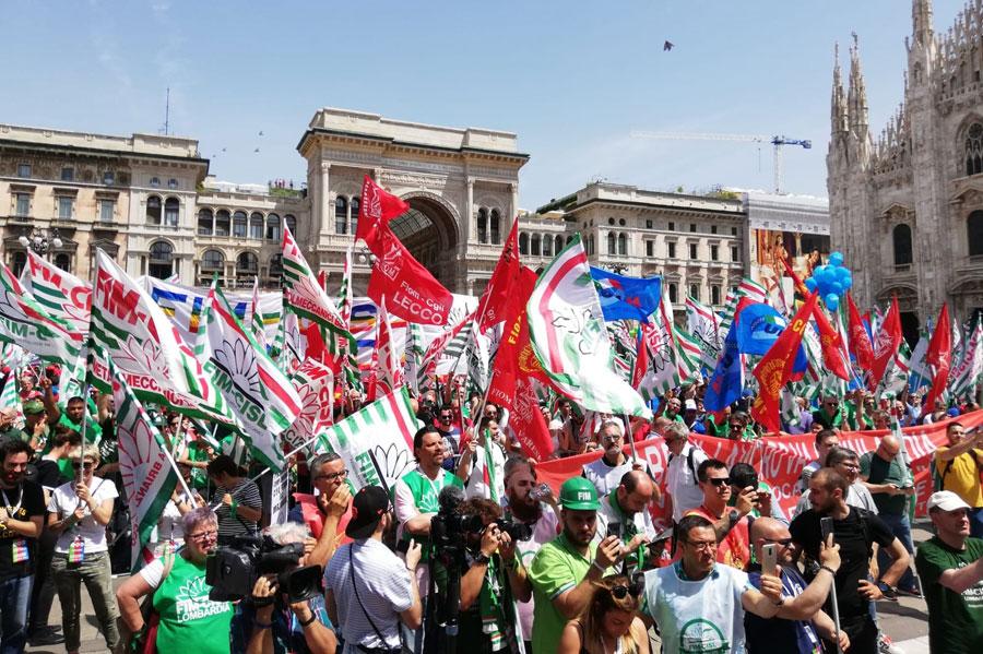 sciopero dei metalmeccanici a Milano
