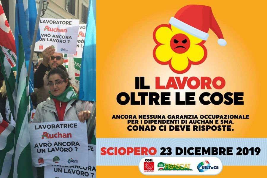 Lunedì 23 dicembre sciopero per la vertenza Auchan