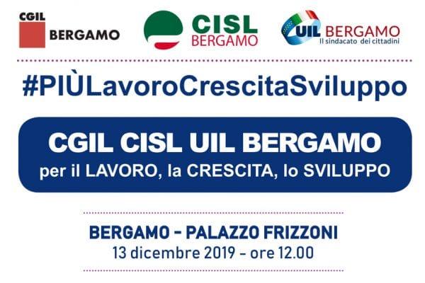 Mobilitazione per il lavoro in centro a Bergamo